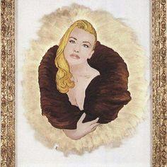 """""""A teatro """" pittura su vetro con foglia oro zecch.22kt e colori ad olio di Ileana Zatti"""