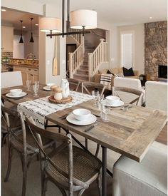 rustic inspired dining room : table : color palette : light fixture