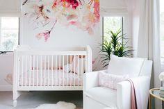 Celebrity Design Reveal: Tamera Mowry's Nursery This oversized floral wallpaper is just amazing! Whimsical Nursery, Nursery Modern, White Nursery, Girl Nursery, Girl Room, Baby Room Design, Nursery Design, Nursery Decor, Nursery Ideas