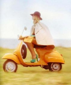 Vespa. And a fabulous hat.