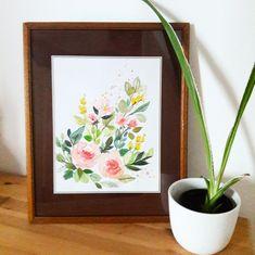 watercolor flowers diy painting flowers Painting Flowers, Art Flowers, Diy Painting, Watercolor Flowers, Flower Art, Frame, Home Decor, Watercolors, Watercolor