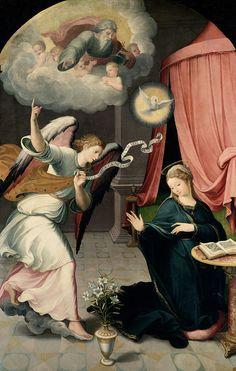 Juan Correa de Vivar (c.1510-1566) — The Annunciation, 1559 : The Museo del Prado, Madrid. Spain (650×1023)