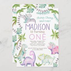 Dinosaur Girl Invitation 1st Birthday Invitations Girl, Dinosaur Birthday Invitations, Dinosaur Birthday Party, Animal Birthday, 1st Birthday Girls, Birthday Parties, Colored Envelopes, White Envelopes, Wild Ones