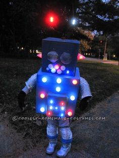 Cool Flashing and Blinking Homemade Robot Costume ... This website is the Pinterest of costumes