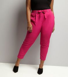 Curves Bright Pink Tie Waist Trousers   New Look