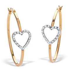 PalmBeach 18k Gold/ Silver Diamond Accent Heart Hoop Earrings  http://www.overstock.com/10413461/product.html?cid=245307