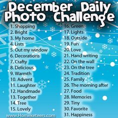 I have decided to make a December Daily Book/Journal this year and what better way then to have some photo-a-day challenges all planned out? So here is a list of challenges – one per day for …