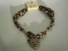 PANTHER PENDANT NECKLACE CHARM SCARF WITH ANIMAL PRINT