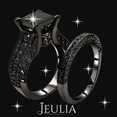 Black Princess Cut Diamond Engagement Ring 14K Black Gold Plated #jeulia #engagementring #blackring.