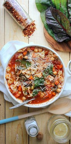 It's soup-making weather! Chickpea Tomato Minestrone Recipe | http://aol.it/1a1DQ6v #souprecipe