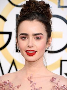 Lily Collins' Crimson Lip