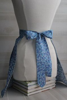 Vintage Blue Floral Half Apron with Matching Potholder by theloftonbroome on Etsy