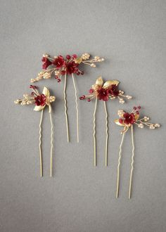 Regal red and gold floral hair pins for Ella 3 Red Wedding Gowns, Wedding Hair Pins, Headpiece Wedding, Wedding Veils, Gold Wedding, Wedding Day, Modern Romance, Floral Hair, Bridal Looks