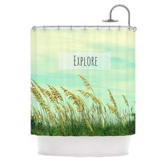 Kess InHouse Robin Dickinson Explore Quote Green Shower Curtain