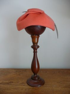 Vintage 1950s Pumpkin Wool Hat with Feather ♥