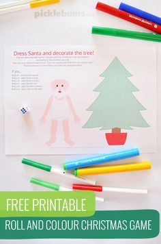 Free Printable roll and colour Christmas game - rolls the dice and dress Santa and decorate the tree!