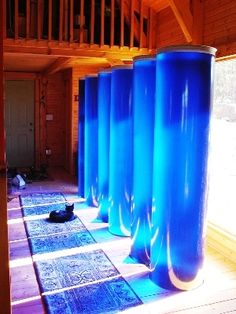 Fiberglass water storage tube tanks for passive solar heating & cooling system Trombe walls. Prevent temperature swings in greenhouse or sunroom by storing excess solar energy. Renewable Energy, Solar Energy, Solar Power, Diy Generator, Homemade Generator, Heat Energy, Save Energy, Perth, Trombe Wall