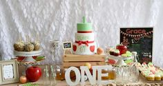 Fantastic dessert table at a apple of my eye birthday party! See more party planning ideas at CatchMyParty.com!