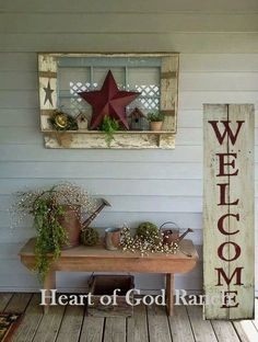 Welcome Porch Sign 5 Rustic Hand Painted Wood Reversible Option Two Signs In One - Farmhouse Decoration Farmhouse Decor, Decor, Porch Welcome Sign, Rustic Decor, Primitive Decorating, Front Porch Decorating, Farmhouse Front Porches, Rustic Porch, Porch Decorating