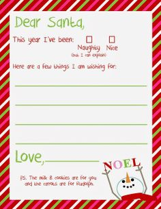 Free Dear Santa Printable  Santa Letter  This Might Help Perfect