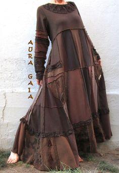 AuraGaia's Eartha~ Poorgirl Boho Tattered Upcycled Long Dress M/L-1X Plus