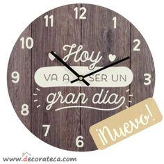 "Relojes de pared redondos con frases positivas en español: ""Hoy va a ser un gran día"" - WWW.DECORATECA.COM"