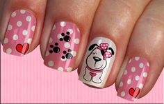 Dog Nail Art, Animal Nail Art, Cute Nail Art, Cute Nails, Animal Nail Designs, Nail Art Designs, Paw Print Nails, Glow Nails, Nails For Kids