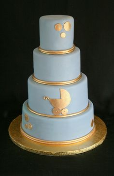Blue and Gold Baby Shower Cake