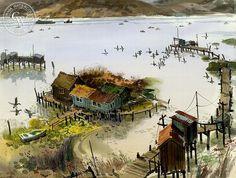 Benicia Fishing Village, California art by Jade Fon. HD giclee art prints for sale at CaliforniaWatercolor.com - original California paintings, & premium giclee prints for sale
