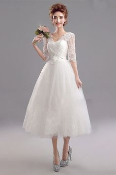 Shop cheap Backless Midi Ivory Bridal Party Dress With 1 2 Lace Sleeves  online. 687c6219b