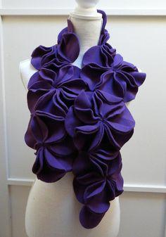 Dimensional Fleece Rosette Scarf in Purple by TheFleeceBeast, $55.00