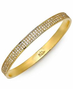 Lauren Ralph Lauren 14k Gold-Plated Pave Crystal Bangle Bracelet