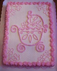 Easy Baby Shower Cakes   ...   ... , 1st Birthdays, & Baby Showers: Pink Baby Carriage Sheet Cake