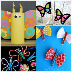 Here is a bunch of pretty butterfly crafts for kids to make at home! Find tissue paper, toilet roll, clothespins, and more butterfly art project ideas! Butterfly Drawing, Butterfly Crafts, Sunday School Crafts, School Fun, Montessori, Dragonfly Art, Welcome Gifts, Crafts For Kids To Make, Toddler Gifts