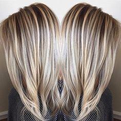 Hair color winter blonde haircolor Ideas for 2019 - Winter hair color for blondes - Hair Color And Cut, Haircut And Color, Hair Colour, Cheveux Courts Funky, Dimensional Blonde, Dimensional Highlights, Hair Highlights, Chunky Highlights, Blonde Highlights On Dark Hair All Over