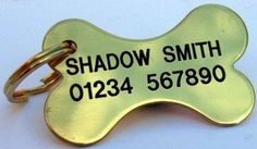 BRASS BONE Quality Engraved Dog Identity Tag When Checking Out, Please Tick The Gift Message Box To Enter Your Personalisation Details @ £5.99