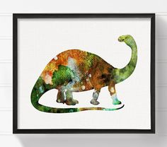 Trend Aquarell Dinosaurier Kinderzimmer Wandgestaltung von MiaoMiaoDesign