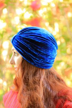So beautiful & royal // Turban in Royal Blue Crushed Velvet - Bohemian Fashion. $30.00, via Etsy.