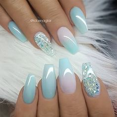 Baby blue nail art with glitter accent nail. Blue manicure, blue mani, coffin na. Baby blue nail a Latest Nail Designs, Blue Nail Designs, Blue Nails With Design, Acrylic Nail Designs For Summer, Almond Nails Designs Summer, Coffin Nails Designs Summer, Accent Nail Designs, Different Nail Designs, Blue Design