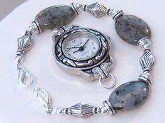 Silver and Black Beaded Watch Band Women's by martywhitedesigns, $18.50