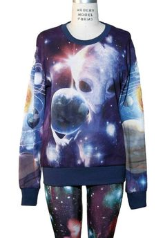 Alien in Galaxy All Over Print Loose Fitting Long Sleeve Sweater XS, S, M, L, XL