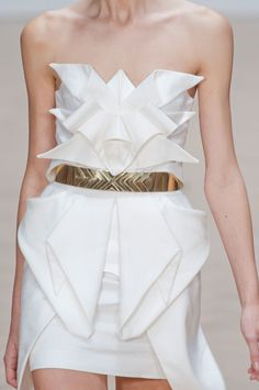 Origami Dress with a beautiful use of fabric manipulation to create structure & symmetry through dimensional folds - creative sewing // Sass & Bide Spring 2013