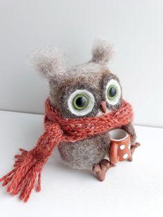 OOAK Owl/Needle Felted Owl/Bird lover gift/Owl holds a mug/Needle felted animal/Cute Owl/Nursery décor/Birthday Gift/Waldorf Owl sculpture Owl Nursery Decor, Fairy Nursery, Nursery Décor, Felted Wool Crafts, Felt Crafts, Needle Felted Owl, Coffee Aroma, Felt Pictures, Felt Fairy