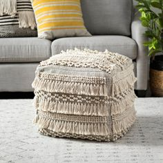 Cotton Heavy Texture Pouf with Fringe Pouf Chair, Pouf Ottoman, Bohemian Living Rooms, Bohemian Decor, Boho Glam Home, Barn Bedrooms, Floor Sitting, Square Pouf, Interior Decorating Styles