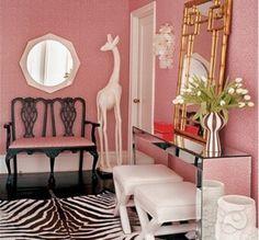 interior design, Jonathan adler, pink walls, mirror console, bamboo mirror