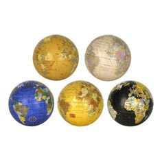 Make any bowl look a little more worldly with this set of Decorative Globe Orbs! Each orb looks is a perfect, miniature globe in a different set of shades. Rock Decor, Bowl Fillers, Decorative Pillows, Miniatures, Throw Pillows, Globes, Ephemera, Breathe, Maps