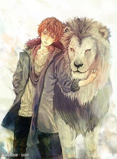 Imagem de anime, lion, and boy