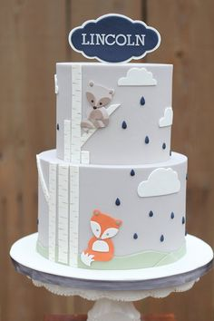 Baby Shower & Smash Cakes by Charity Fent Cake Design. Custom Cakes with fondant or buttercream frosting. Baby Shower Cakes, Baby Shower Themes, Baby Boy Shower, Cupcakes, Cupcake Cakes, Smash Cakes, Birch Tree Cakes, Decors Pate A Sucre, Fox Cake
