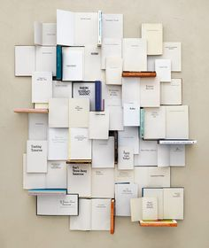 """Everything that I wish I could be    """"Everything that I wish I could be"""" is the title of a series of book collages made by Kent Rogowski. He used the titles of self-help books to create larger narratives, which become portraits of emotions, people and events in life."""