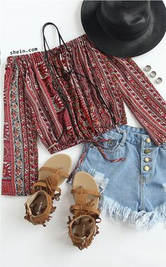 Burgundy Tribal Print Off The Shoulder Top